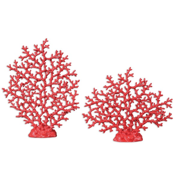 Uttermost Bright Red Coral Sculptures (Set of 2)