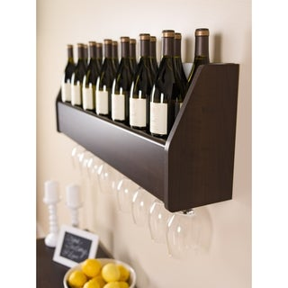 Espresso-finished Floating Wine Rack