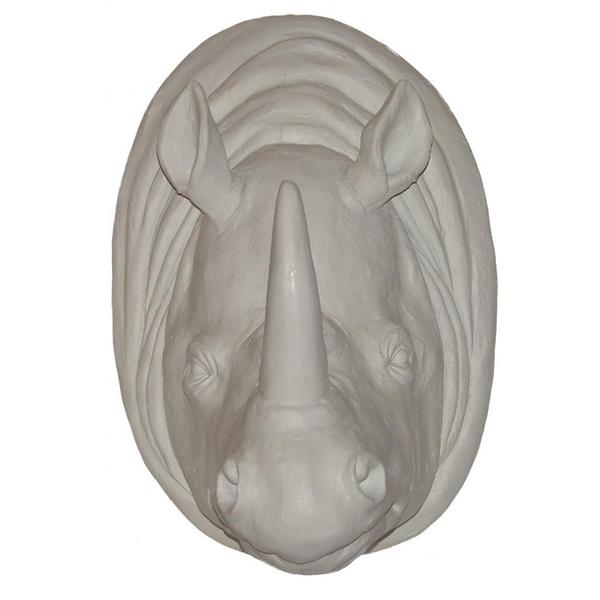 Matte White Rhinoceros Wall Plaque