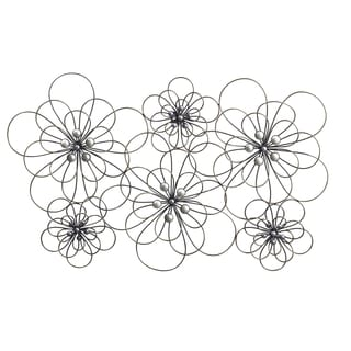 Elements 29 x 18.5-inch Wire Flowers Metal Wall Decor