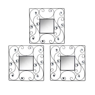 Elements15-inch Black Square Scroll Jeweled Mirror Set (Set of 3)