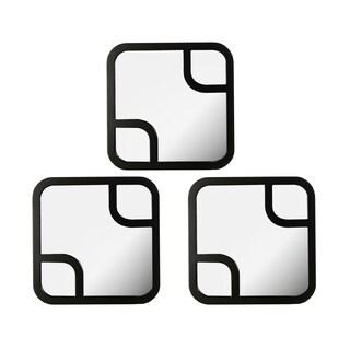Elements 12-inch Black Round Cornered Mirror Set (Set of 3)