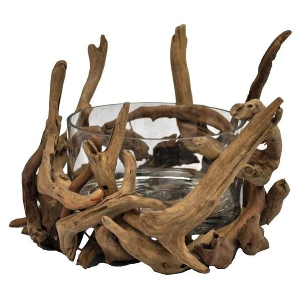 Handmade Round Glass Natural Driftwood Decorative Bowl (Philippines) 12018674