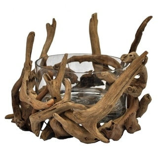 Round Glass Natural Driftwood Decorative Bowl (Philippines)