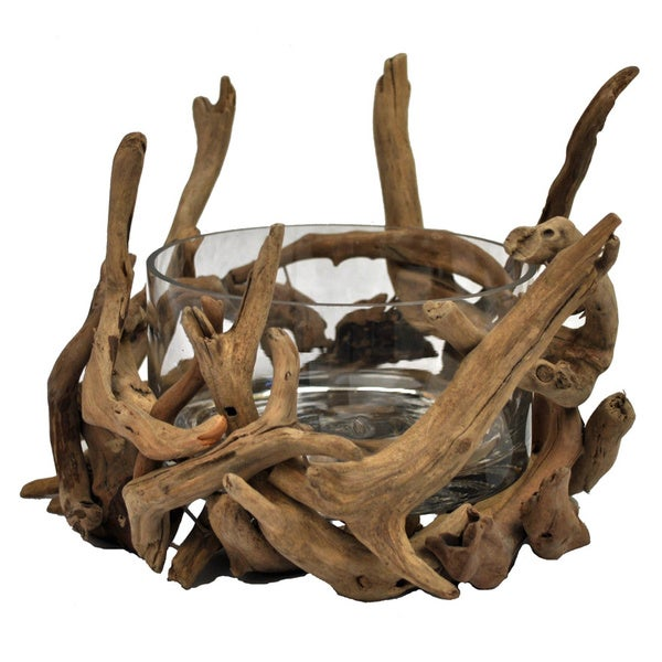 Round Glass Natural Driftwood Decorative Bowl (Philippines) 12018674