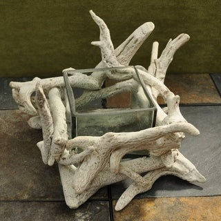 Handcrafted Whitewashed Driftwood Square Glass Bowl (Philippines)
