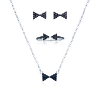 Blue Box Jewels Black Bow Tie Ring, Earring and Necklace Set