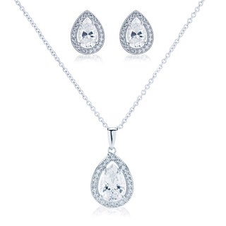 Blue Box Jewels Pear Shape Necklace and Earring Set