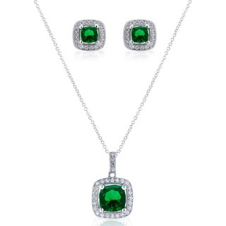 Blue Box Jewels Emerald Necklace and Earring Set