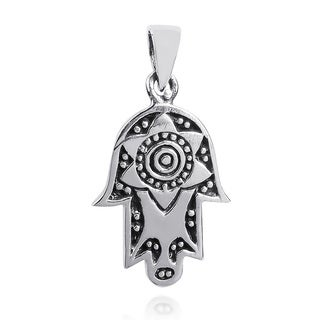 Hand of Hamsa Protection Symbol .925 Silver Pendant (Thailand)