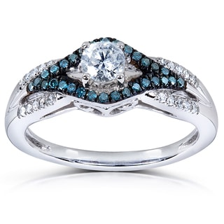 Annello 14k White Gold 1/2ct TDW Blue and White Rond-cut Diamond Ring (H-I, I1-I2)
