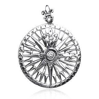 Navigation Compass Fleur de lis .925 Silver Pendant (Thailand)