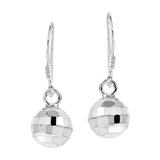 Retro Disco Ball Sterling Silver Dangle Earrings (Thailand)