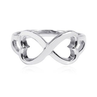 Boundless Love Infinity Heart Symbol Sterling Silver Ring (Thailand)
