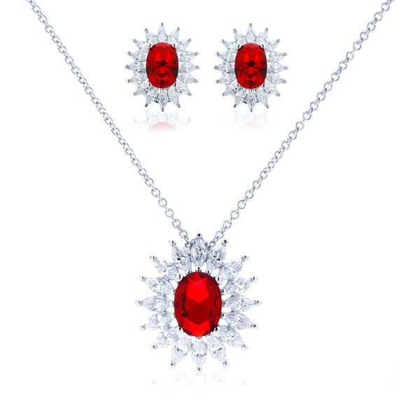 Blue Box Jewels Lady Ruby Necklace and Earring Set
