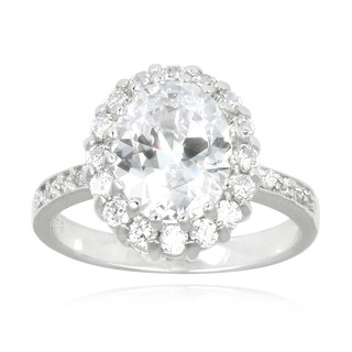 Icz Stonez Sterling Silver Oval-cut Cubic Zirconia Engagement-style Ring