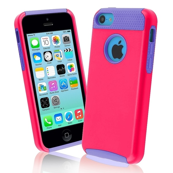 INSTEN Light Purple Skin/ Pink Hard Plastic Hybrid Phone Case Cover for Apple iPhone 5C