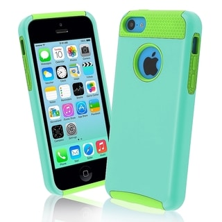INSTEN Green Skin/ Light Blue Hard Plastic Hybrid Phone Case Cover for Apple iPhone 5C