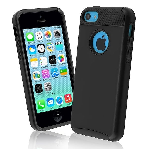 INSTEN Black Skin/ Black Hard Plastic Hybrid Phone Case Cover for Apple iPhone 5C