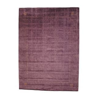 Indo Hand-knotted Gabbeh Purple/ Red Wool Rug (10' x 14')
