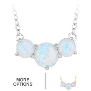 Glitzy Rocks Sterling Silver Or Gold over Silver Created Opal Necklace