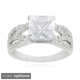Icz Stonez Silver Or Gold Over Silver Cubic Zirconia Bridal Engagement Ring (5ct TGW)