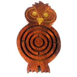 Handmade Wooden Labyrinth - Night Owl (India)