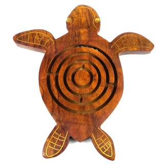 Handmade Wooden Labyrinth - Sea Turtle (India)