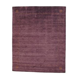 Herat Oriental Indo Hand-knotted Gabbeh Purple/ Red Wool Rug (8' x 10')