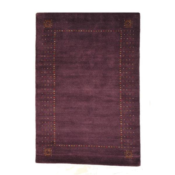 Herat Oriental Indo Hand-knotted Gabbeh Purple/ Red Wool Rug (4' x 6')