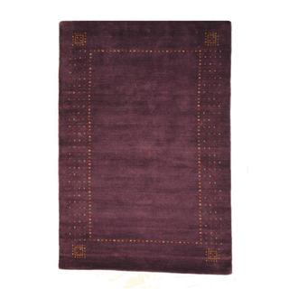 Indo Hand-knotted Gabbeh Purple/ Red Wool Rug (4' x 6')