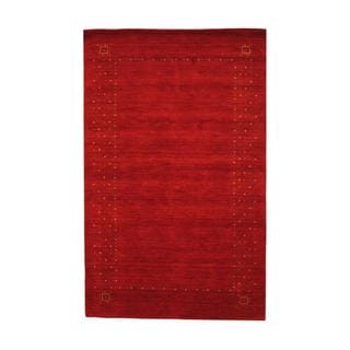 Indo Hand-knotted Gabbeh Red/ Ivory Wool Rug (5' x 8')