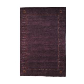 Indo Hand-knotted Gabbeh Purple/ Red Wool Rug (5' x 8')