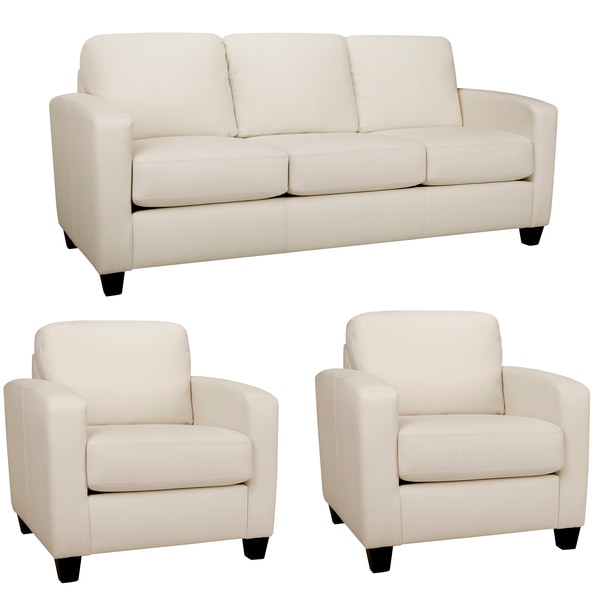 Bryce White Italian Leather Sofa and Two Chairs - 15814568 ...