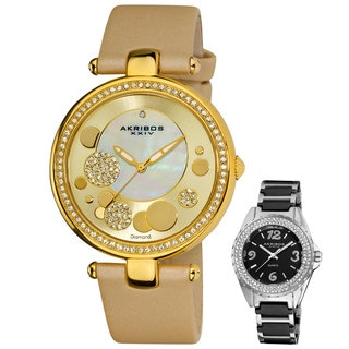Akribos XXIV Women's Swiss Quartz Leather Strap Watch with Bonus Women's Black Watch