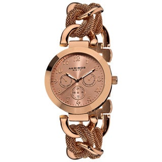 Akribos XXIV Women's Multifunction Mesh Link Watch with Bonus Buckle Dial Women's Watch
