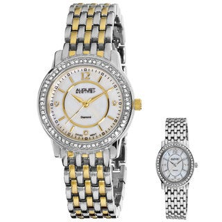 August Steiner Women's Dazzling Diamond Two-tone Watch with Bonus Oval Women's Watch
