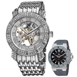 Joshua & Sons Men's Automatic Skeleton Crystal Silvertone Bracelet Watch with Bonus Bold Men's Silicon Strap Watch