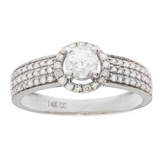 14K White Gold 1ct TDW Round Diamond Halo Engagement Ring (G-H, I1)
