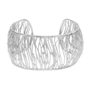 La Preciosa Sterling Silver Wide Diamond-Cut Italian Cuff Bangle