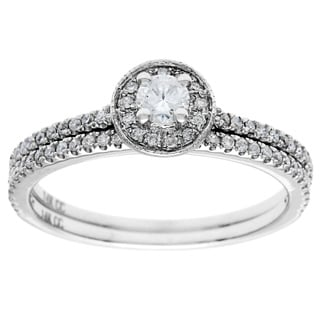 14K White Gold 1/2ct TDW Round Diamond Halo Bridal Set (H-I, I1-I2)