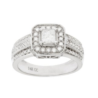 14k White Gold 1 ct TDW Diamond Round Bridal Set (G-H, I1-I2)