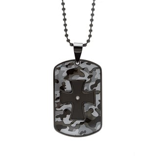Stainless Steel Accent Diamond Cross Cut-out Dog Tag Pendant