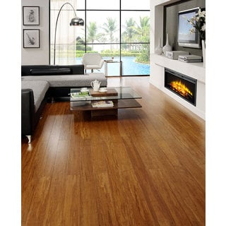 "Envi Exotic Bamboo Caramel Strand Woven 3/8"" x 5-inch EZ Click Flooring (26.05 Square Feet)"