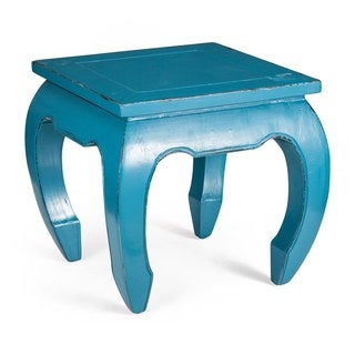 Donahue Distressed Turquoise Blue Side Table