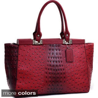 Dasein Ostrich and Croco Fusion Wide Petite Tote