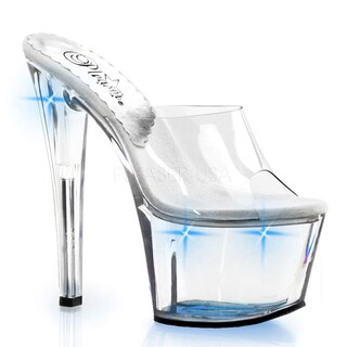Pleaser Women's 'Sky-301LT' Clear/ Blue Lite-Up Platform Sandals