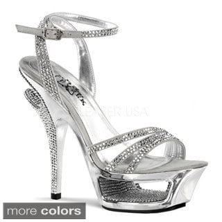 Pleaser Day & Night Women's 'Deluxe-637' Rhinestone Straps Ankle Wrap Heels