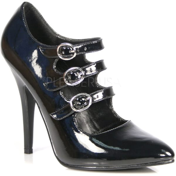 Pleaser Women's 'Seduce-453' Black Tri-strap Mary Jane Pumps