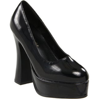 Demonia Women's 'Dolly-30' Black Patent Leather Chunky Heel Pumps